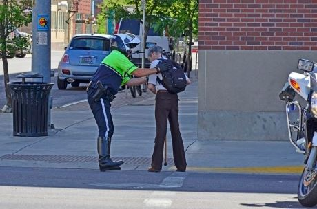 Officer Pontrelli Helping Man Accross Street